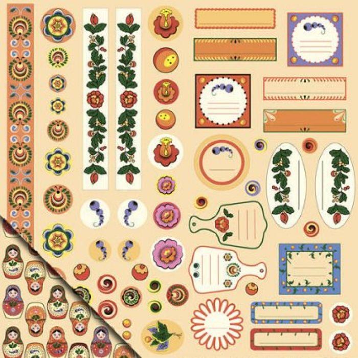 Бумага Декор и теги №3, коллекция Русское ассорти для скрапбукинга