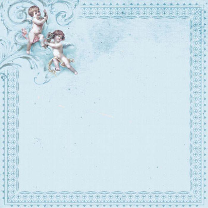 Бумага Ангелы на голубом, коллекция Малыш и малышка для скрапбукинга