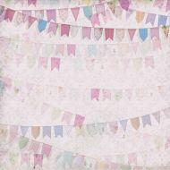 Бумага Флажки розовые, коллекция Малыш и малышка