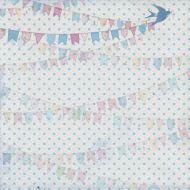 Бумага Флажки голубые, коллекция Малыш и малышка