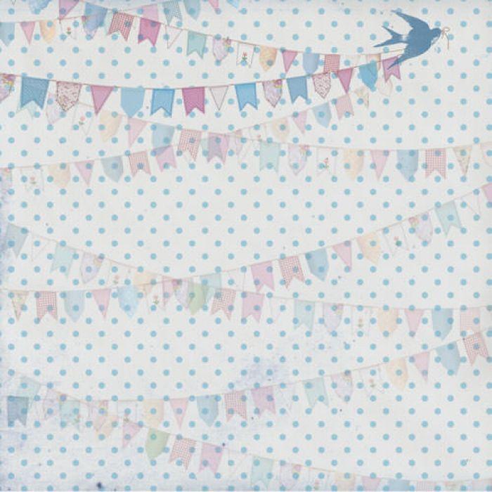 Бумага Флажки голубые, коллекция Малыш и малышка для скрапбукинга