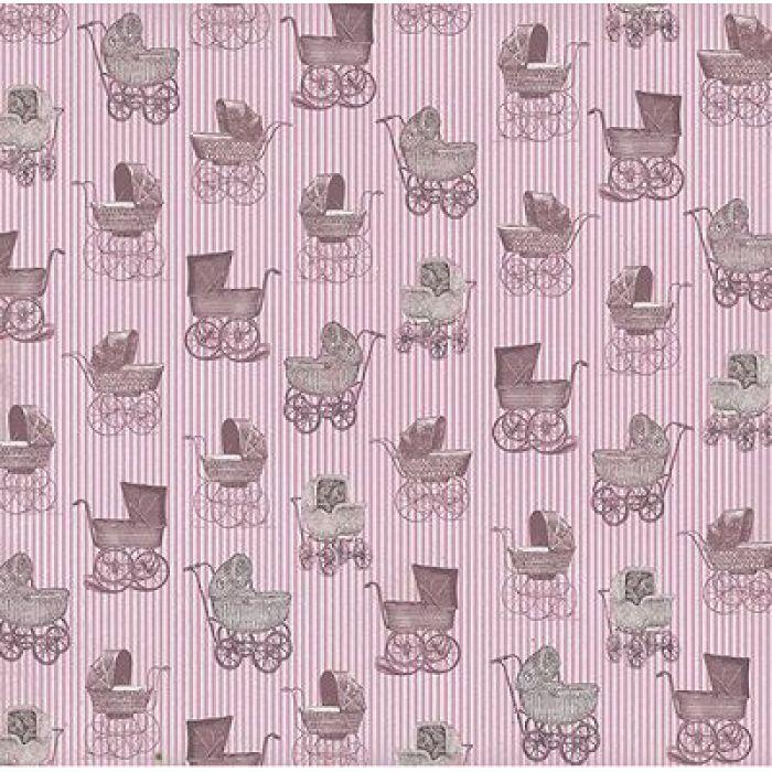 Бумага Розовые коляски , коллекция Малыш и малышка для скрапбукинга