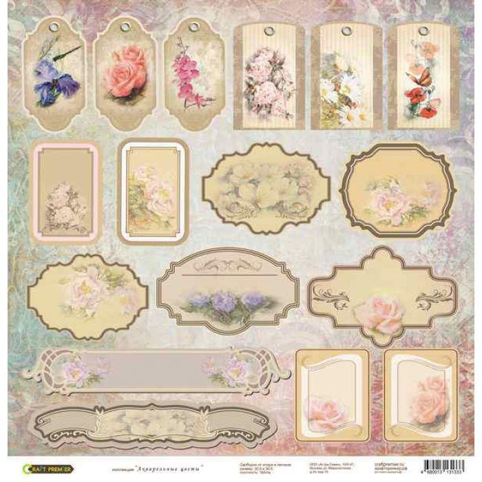 Бумага Теги, коллекция Акварельные цветы для скрапбукинга