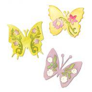 Форма для вырубки Бабочки #3 3 шт Sizzlits Die 658068