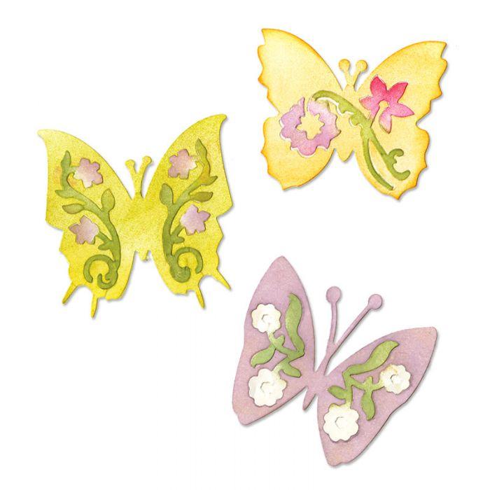 Форма для вырубки Бабочки #3 3 шт Sizzlits Die 658068 для скрапбукинга