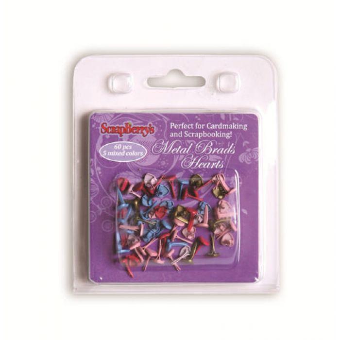 Металлические брадсы-сердечки 4,5x8 мм, красный, голубой, медный, розовый для скрапбукинга