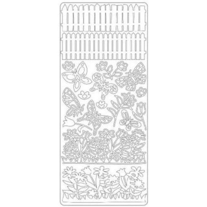 Контурные стикеры ЛЕТНИЙ САД серебряные для скрапбукинга
