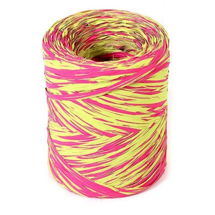 Рафия синтетическая розовая-зеленая для скрапбукинга