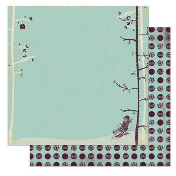 Бумага Sledding, коллекция Snow Day для скрапбукинга