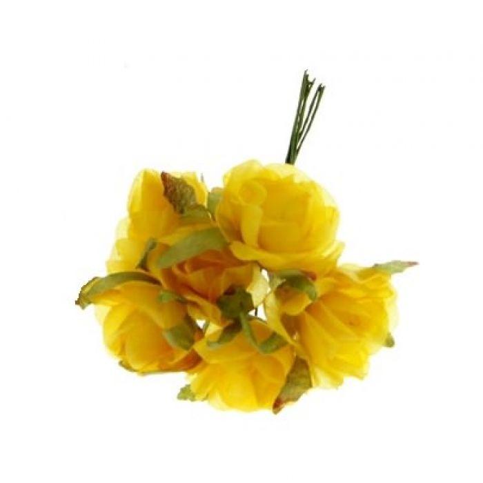 Набор цветов Розы ярко-желтые для скрапбукинга