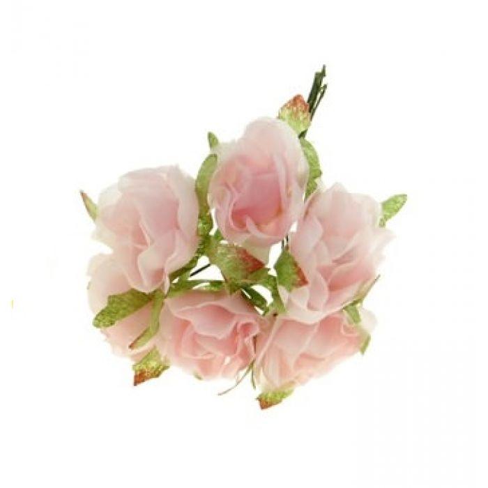 Набор цветов Розы мини розовые для скрапбукинга