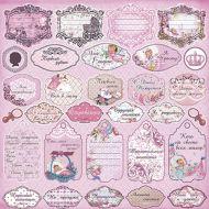 Бумага теги розовые из коллекции малыш и малышка
