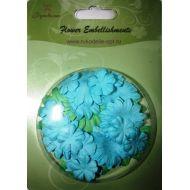Набор бумажных цветов плоские Зеленые/голубые