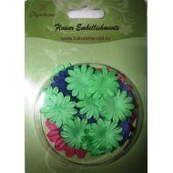 Набор бумажных цветов плоские Зеленые/синие/розовые