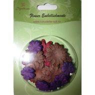 Набор бумажных цветов плоские Фиолетовые/Коричневые/Вишневые