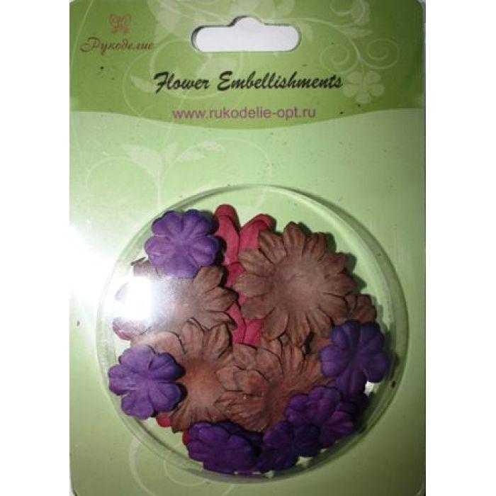 Набор бумажных цветов плоские Фиолетовые/Коричневые/Вишневые для скрапбукинга