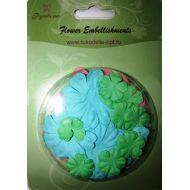 Набор бумажных цветов плоские Зеленые/голубые/розовые