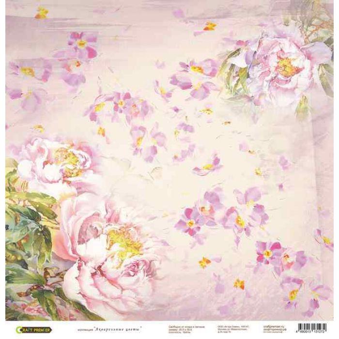 Бумага Розовые пионы, коллекция Акварельные цветы для скрапбукинга