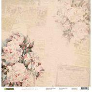 Бумага Винтажные пионы, коллекция Акварельные цветы