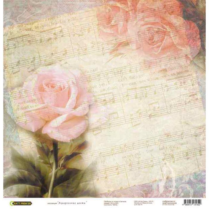Бумага Розы, коллекция Акварельные цветы для скрапбукинга