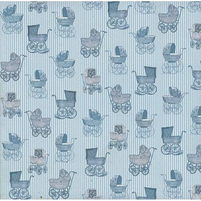 Бумага Голубые коляски , коллекция Малыш и малышка для скрапбукинга