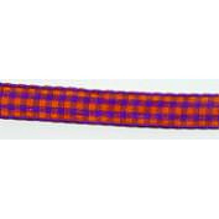 Лента Клетка фиолетово-оранжевая, 10 мм для скрапбукинга