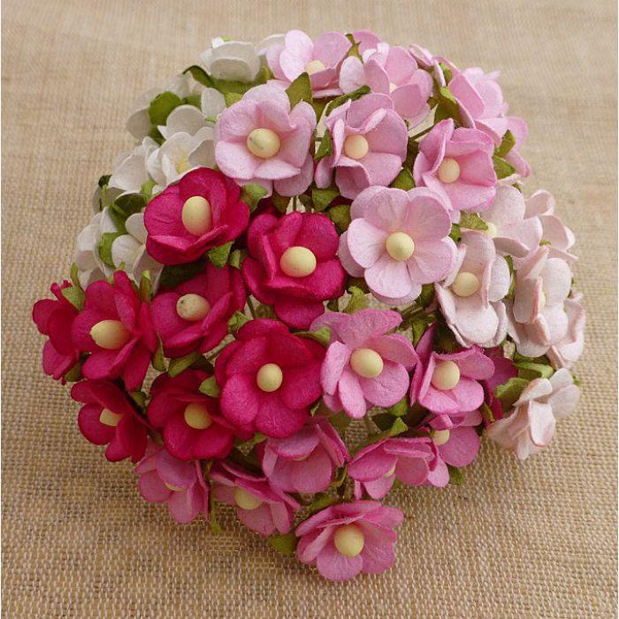 Цветы розовая смесь для скрапбукинга