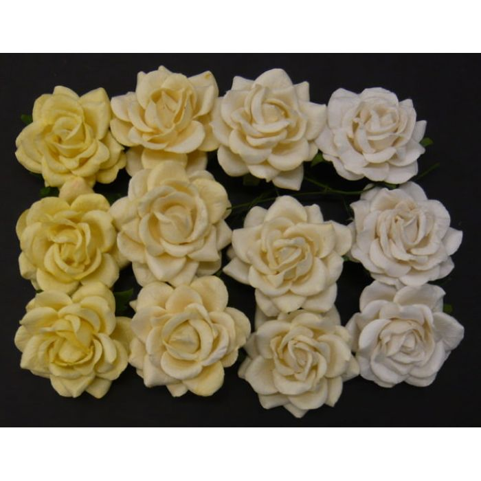 Розы, бело-кремовая смесь, 35 мм для скрапбукинга