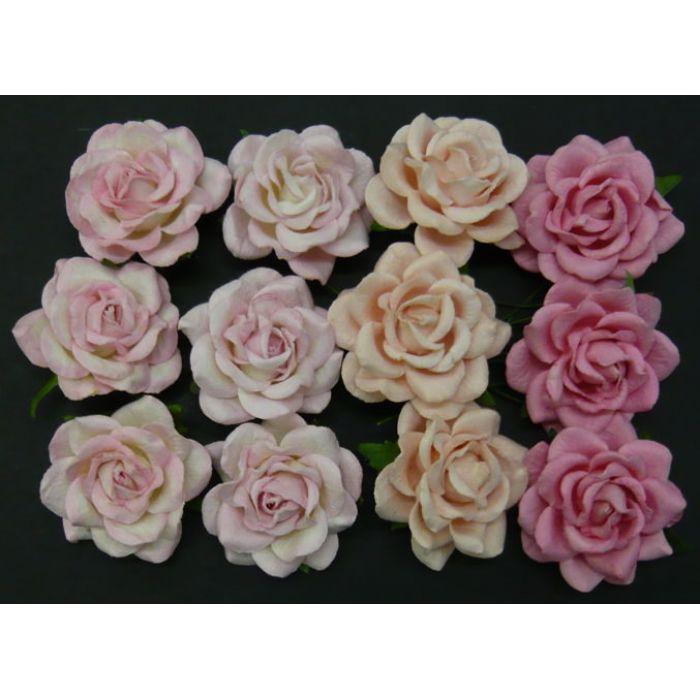 Розы шпалерные, розовая смесь, 40 мм для скрапбукинга