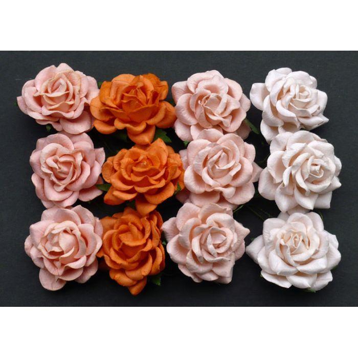 Розы шпалерные персиково-оранжевая смесь, 35 мм для скрапбукинга