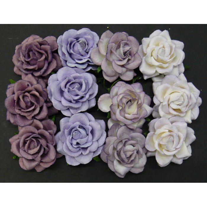 Розы шпалерные фиолетово-лиловая смесь, 40 мм для скрапбукинга