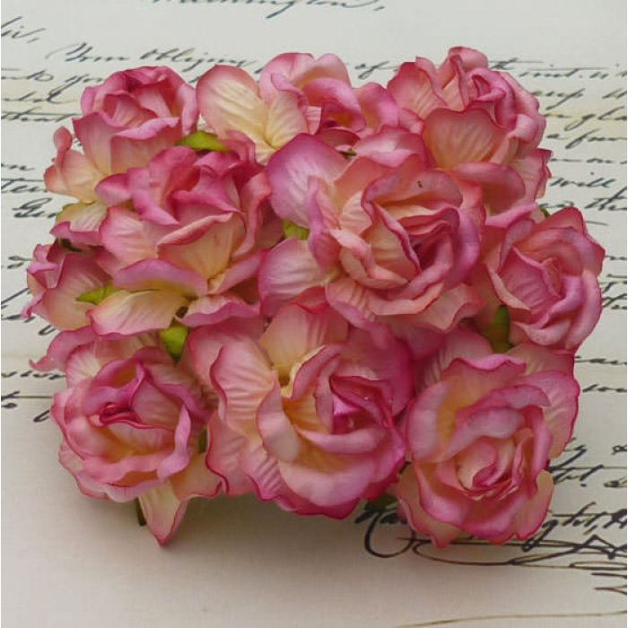 Роза дикая шампанское с розовым, 40 мм для скрапбукинга