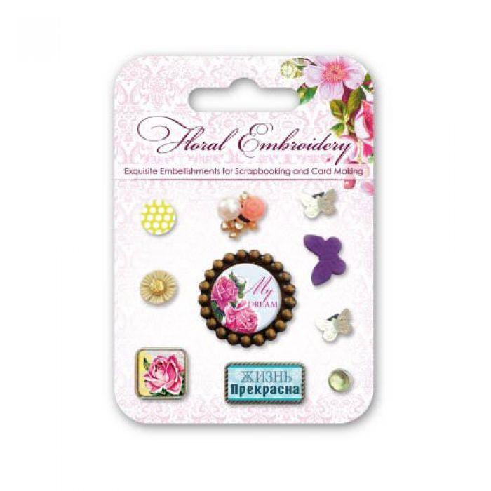 Набор декоративных брадсов цветочная вышивка для скрапбукинга