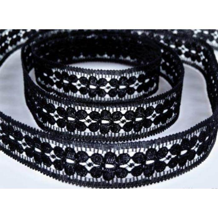 Кружево синтетическое черное для скрапбукинга