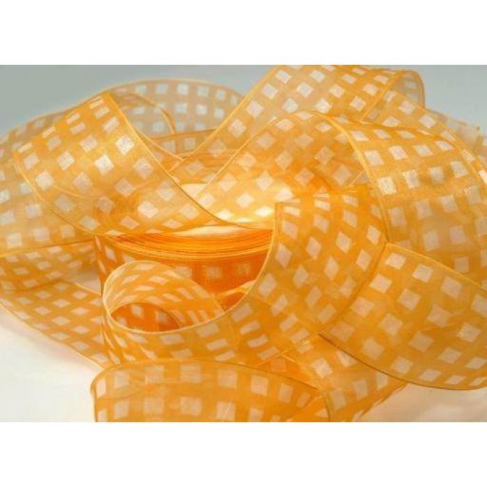 Лента шифоновая оранжево желтая для скрапбукинга