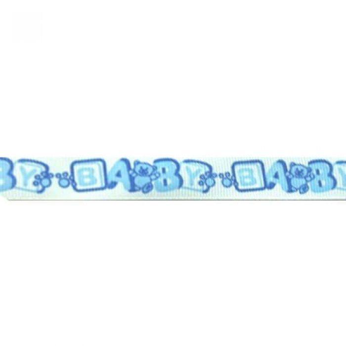 Лента репсовая Детский алфавит голубой для скрапбукинга