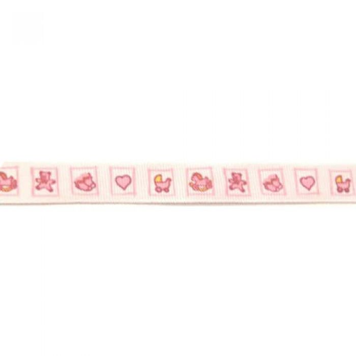 Лента репсовая Детские квадратики розовые для скрапбукинга