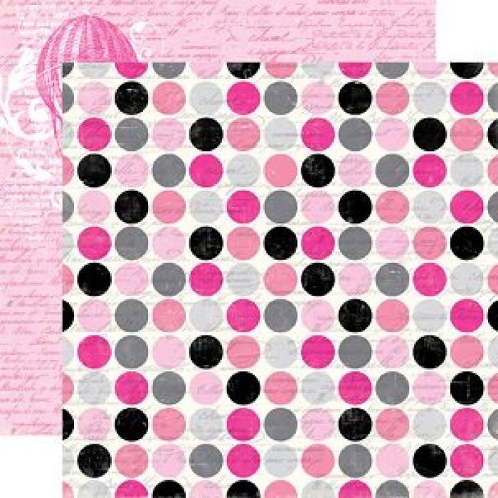 Бумага, коллекция  Be Mine, Script Polka Dot для скрапбукинга