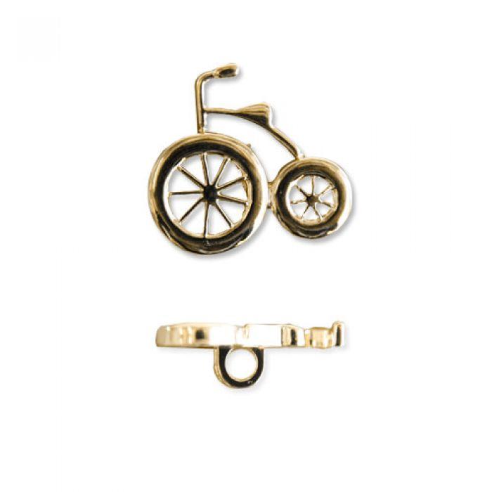 """Пуговица """"Велосипед"""" золотая, 21 мм  для скрапбукинга"""