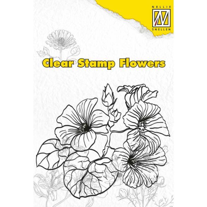 Штамп цветы гибискус для скрапбукинга
