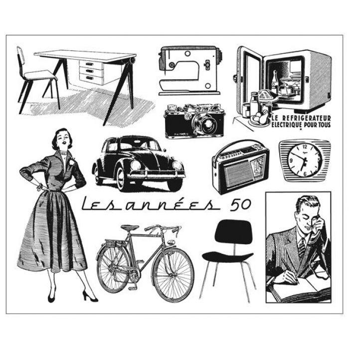 """Набор прозрачных штампов  """"В 1950-е"""" для скрапбукинга"""