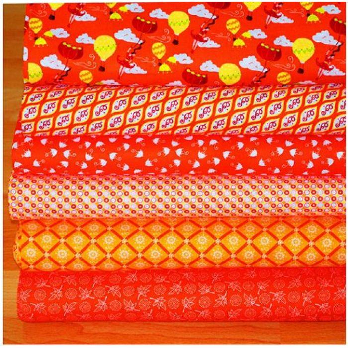 """Набор ткани оранжевый """"Тётушка Эма"""" для скрапбукинга"""