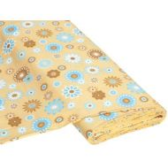 Отрез ткани Happy Flower бежевый / голубой