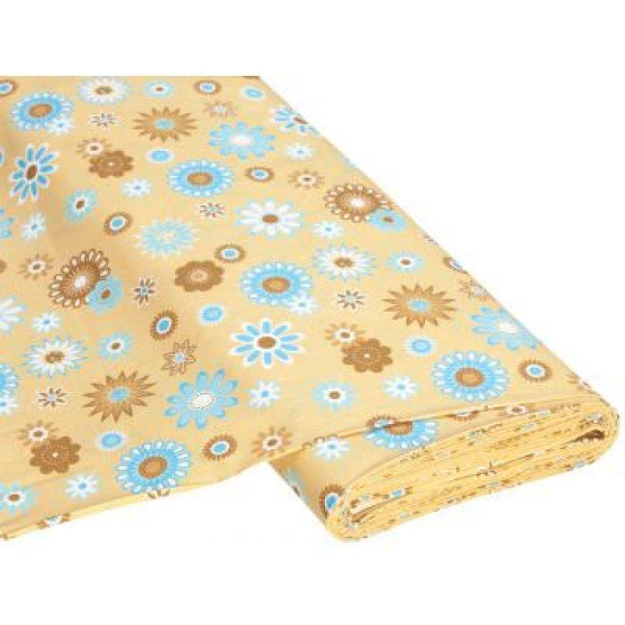 Отрез ткани Happy Flower бежевый / голубой для скрапбукинга