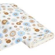 Отрез ткани Happy Flower белый / бежевый
