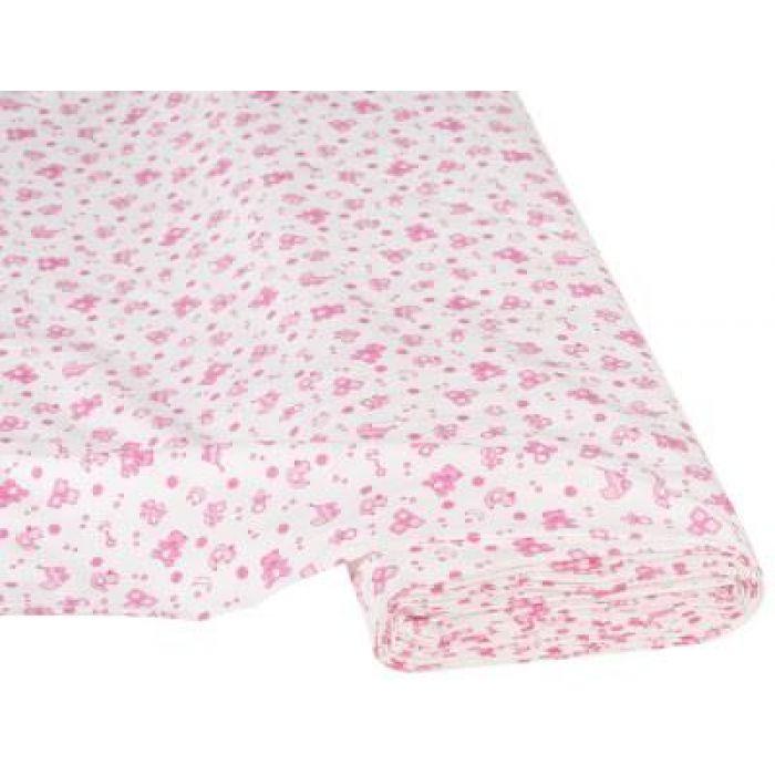 Отрез ткани Детские игрушки белый / розовый для скрапбукинга