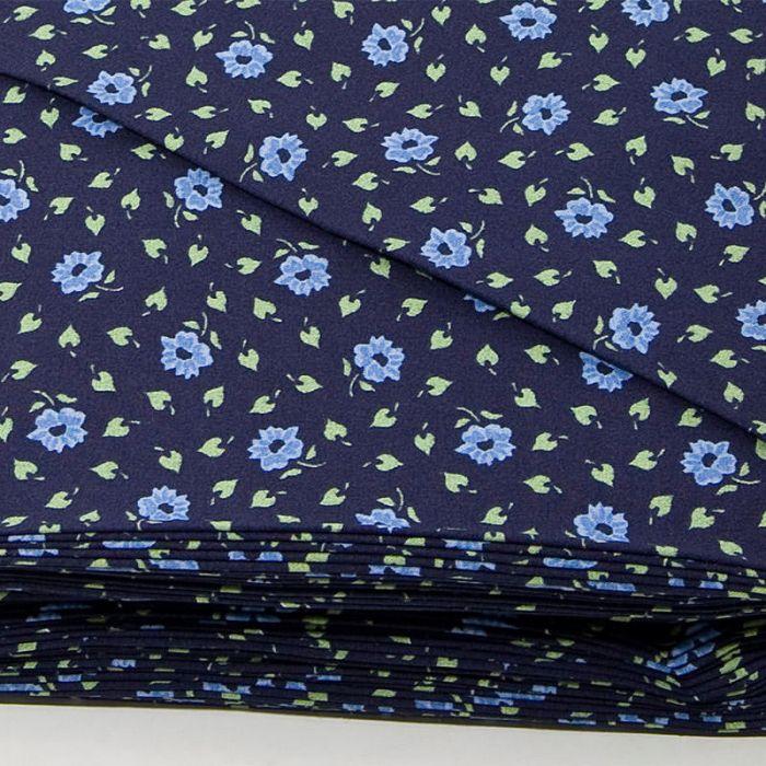 Отрез ткани Цветочный темно-синий для скрапбукинга