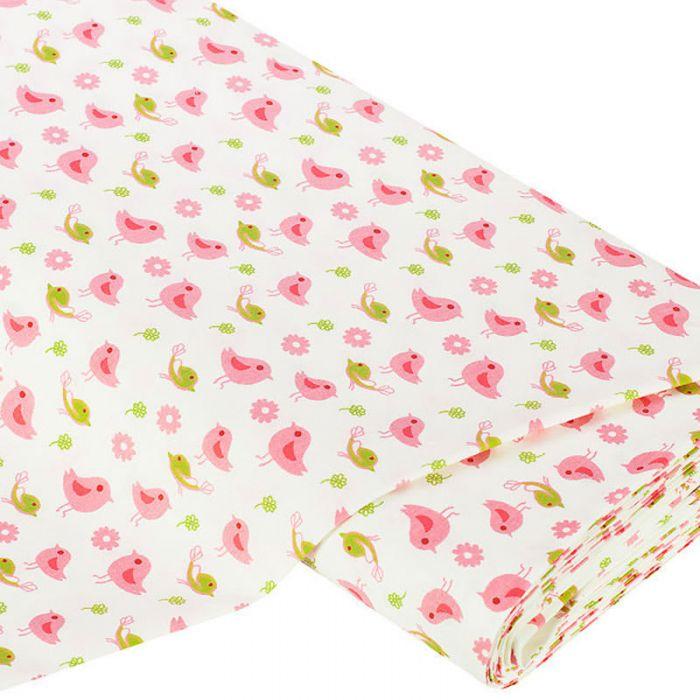 Отрез ткани Птицы, лаймово-розовые для скрапбукинга