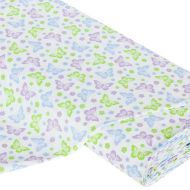Отрез ткани Бабочки зеленый / синий