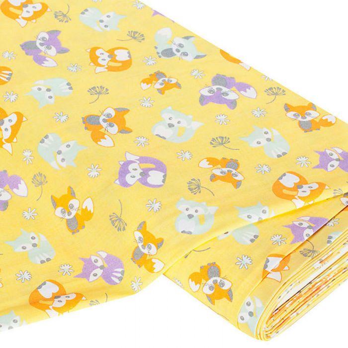 Отрез ткани Лисята, цвет желтый для скрапбукинга